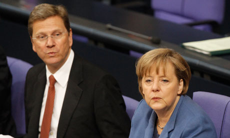 Guido Westerwelle and Angela Merkel