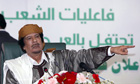 Muammar Gaddafi speaks to loyalists in Tripoli on 2 March 2011.