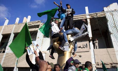 Supporters of Libya's leader Muammar Gaddafi inside Bab Al-Aziziya, Gaddafi's Tripoli compound
