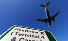 Aircraft lands at Heathrow airport in west London