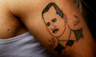 A tattoo of Syrian president, Bashar al-Assad