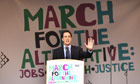 Labour party leader, Ed Miliband, addresses the anti-cuts rally in Hyde Park, London