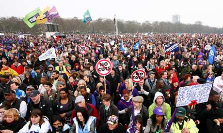 Protesters on the anti-cuts march at the rally in Hyde Park, London