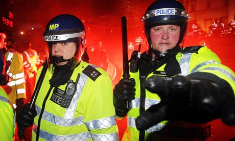 cuts protest police