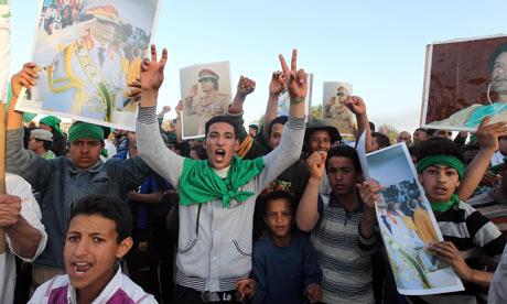 Libyans loyal to leader Muammar Gaddafi