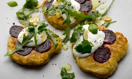 Spiced beetroot blinis