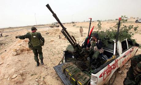 Anti-Gaddafi forces near Brega in Libya