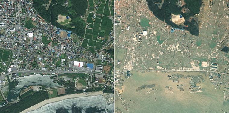 右:关于2011年3月13日该区在牡鹿半岛发生9级地震两天后的情景.