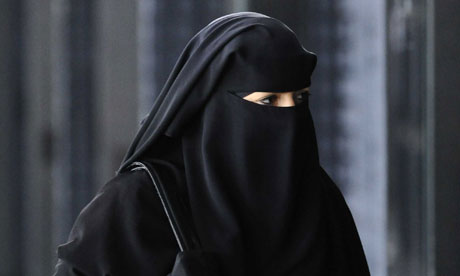 A woman in a burqa