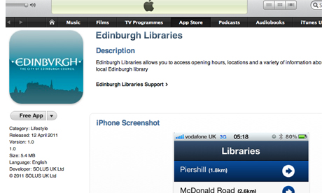 The Edinburgh library app can now be found on iTunes