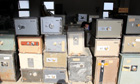 Cashboxes collected from houses damaged by the Japanese tsunami.