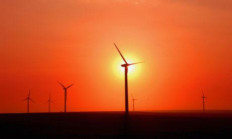 Wind turbines at sunset, Nei Mongol Autonomous Region, China