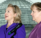 Hillary Clinton with Angela Merkel in Berlin on 14 April 2011.