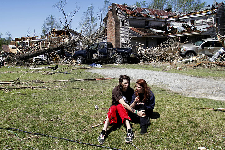 Carolina Tornado: Nathaniel Ramey comforts Megan Hurst at her grandmother's house
