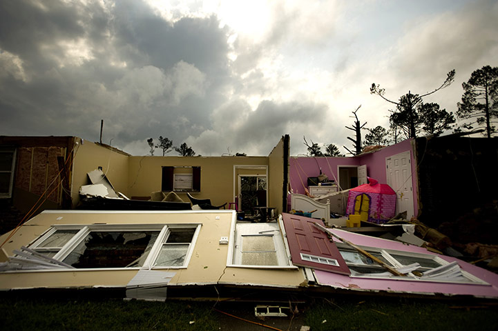 Carolina Tornado: A tornado flattened most of this home in the LaGrange subdivision
