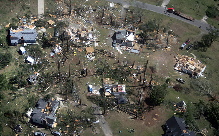 Carolina Tornado: An aerial photo showing storm damage