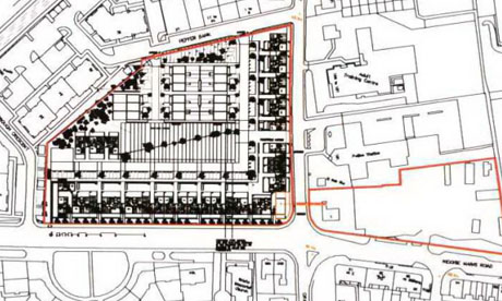 The red outline plan for Cairntows Park, with Peffer Bank to the north and Niddrie Mains Road to the south