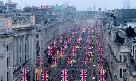 Bunting hangs along Regent Street, London