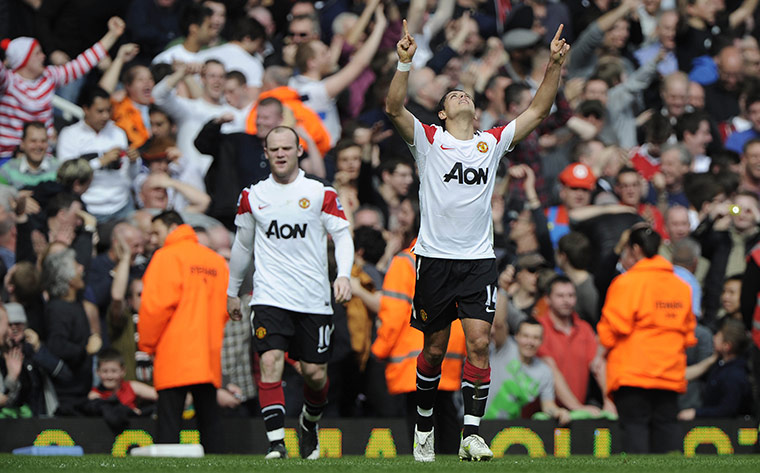 Rooney celebrates his second goal
