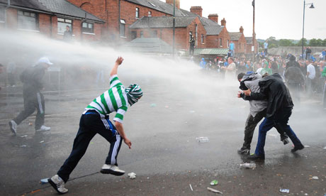Rioters clash with police in Belfast. Some politicians believe dissidents exploit youngsters prone to violence.