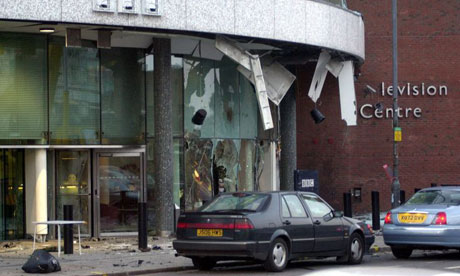 Scene of car bomb explosion at BBC Television Centre in 2001