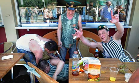 Drinkers in Russia.