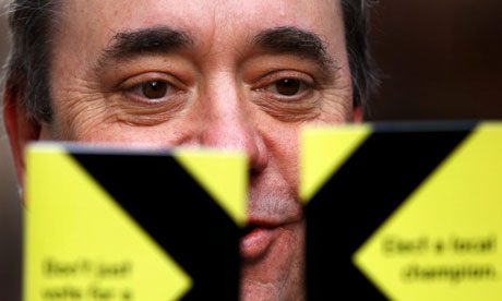 Alex Salmond with his party manifesto