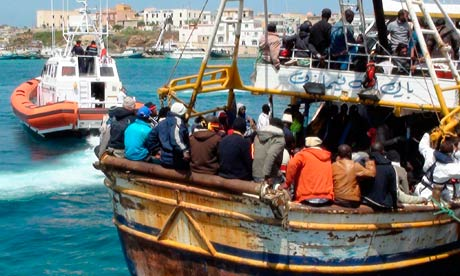 Refugees from Libya in Lampedusa