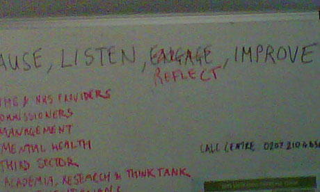 Department of Health whiteboard showing change from 'engaging' to 'reflecting' regarding NHS reforms