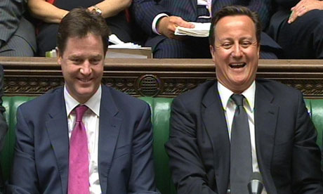 Nick Clegg and David Cameron at prime minister's questions on 27 April 2011.