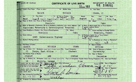 Barack Obama's long-form birth certificate, released 27 April 2011.