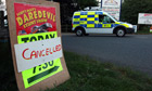 Poster at Kent county showground following death of human cannonball