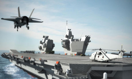 Computer-generated image of one of the new aircraft carriers