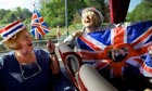Royal wedding trippers Marjorie Williams and Margaret Thompson on a special coach to London