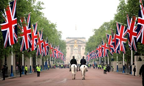 Union Flags in the Mall, London, on the day of the royal wedding, on 29 April 2011.