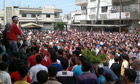 Syrian anti-government protesters demonstrate in Banias.