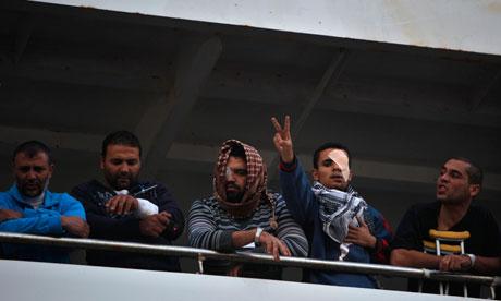 Injured Libyan men on board the Turkish ship Ankara
