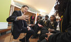 Nick Clegg gives a career advice talk to pupils at the Globe Academy in Southwark