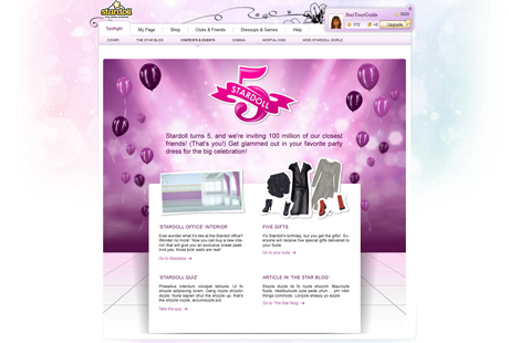 Stardoll has launched 5th birthday merchandise in its online store