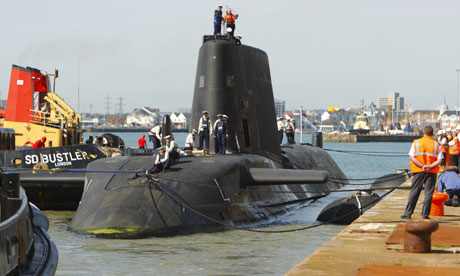 Nuclear submarine HMS Astute on which a shooting has taken place at the Southampton docks