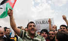 Jordanians protest in solidarity with the rebels in the Syrian town of Deraa