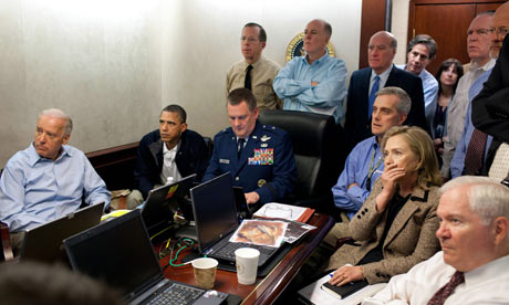 Obama, Biden, Clinton and the national security team get an update on Osama bin Laden mission