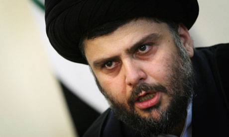 Iraqi Shi'ite cleric Moqtada al-Sadr speaks at a news conference in Tehran