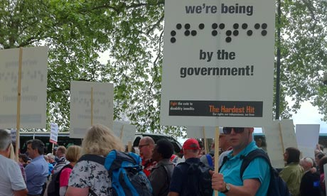 Marchers on the Hardest Hit demonstration of disabled people against government benefit cuts