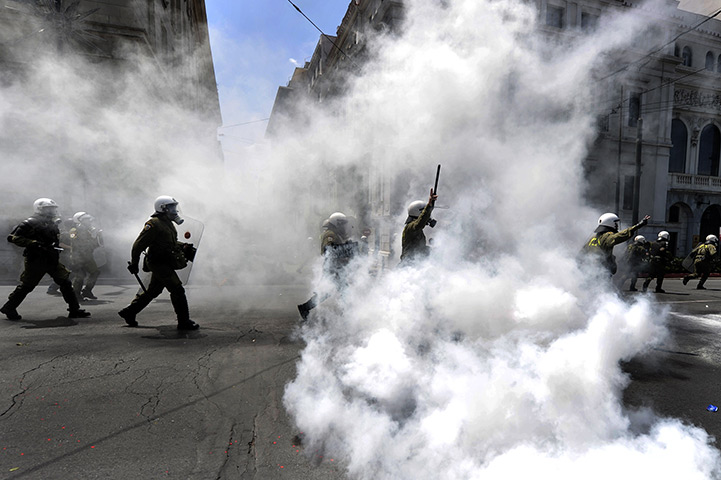 Protests in Athens: Greek riot police clash with demonstrators during a protest in Athens