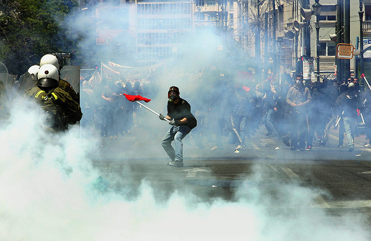 Protests in Athens: Protesters clash with riot police during a demonstration in central Athens
