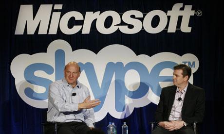 Microsoft CEO Steve Ballmer and Skype CEO Tony Bates