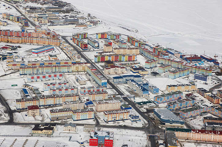 Disappearing world: Colourful apartment blocks in Anadyr, Siberia.