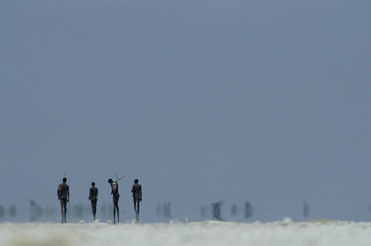 Disappearing world: Hunters from the San tribe cross a salt pan in the Kalahari.