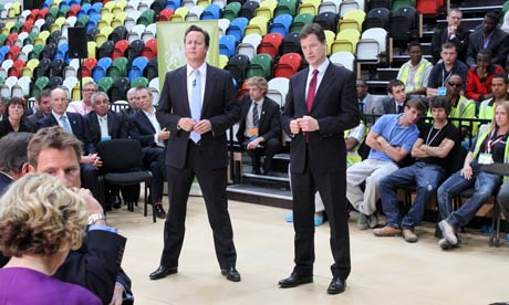 David Cameron and Nick Clegg, Olympic Park, London